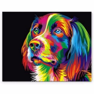 50x40CM ColorFul Puppy Dog Little Animal Pet DIY Self Handicraft Paint Kit  Home Decor Wood Framed