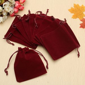 10Pcs Dark Red Drawstring Bags Wedding Party Candy Favor Gift Jewellery Pouches