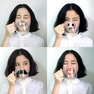 Handgjord tecknad glaskopp Hög temperaturbeständig genomskinlig vattenmugg Kattgris Nosmönster Glasmugg