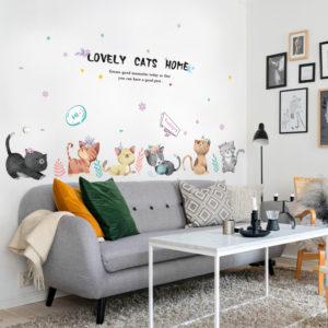 Miico SK7184 Hand-Painted Cat Wall Sticker Children's Room Kindergarten Decorative Stickers DIY Sticker