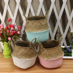 5 ST Mat Gräs Magkorg Förvaringsanläggning Potten hopfällbar Tvättväskorum Dekorativ blomkruka
