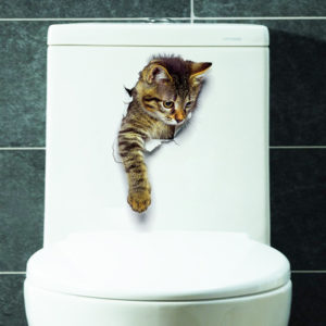 3D söta kattväggklistermärken Toalettklistermärken Dekorationer Kreativa djurväggklistermärken Dekorer ditt hem som en makeupartist