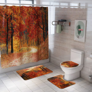 1.8M Maple Prints Bath Shower Curtain Fabric Bathroom Decor Set with 12 Hooks