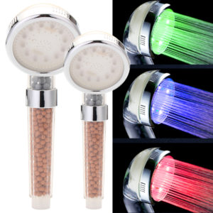 3 Colors Changing LED Light Shower Head Handheld Boosting Filtration Water Head