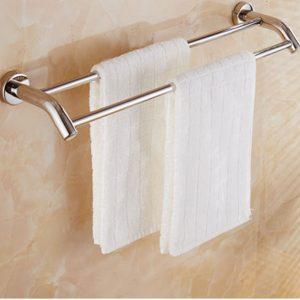 Dubbel handdukshållare Väggmonterad rostfritt stål Handdukshylla Rackhållare Badhållare
