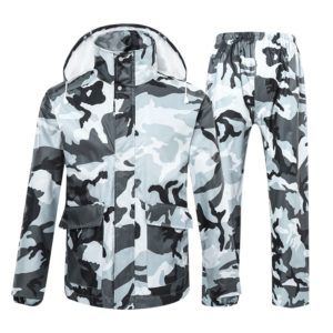 Camouflage Raincoat Suit Hiking Motorcycle Riding Thickened Waterproof Men Women Raincoats