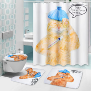 150/180X180CM Cat Bathroom Waterproof Shower Curtain With 12 White Plastic C-shaped Hooks