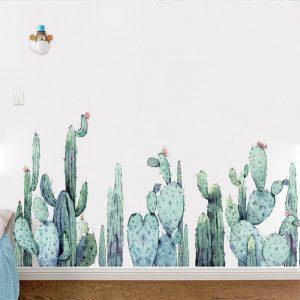 Miico FX82028 2 STKS Tecknad väggklistermärken Kaktusväxter Tryckklistermärke Barnrum och dagis Dekorativ klistermärke