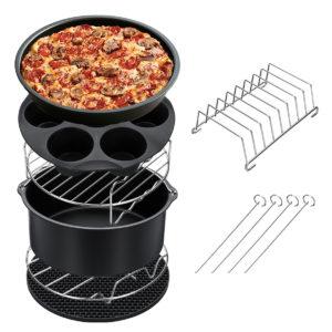 7 STKS Tillbehör för friterare Ställ Chips Bakkorg Pizza Pan Home Kitchen Tool