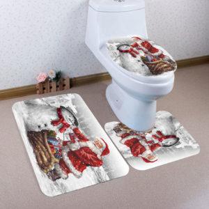3Pcs Bathroom Mats Set Christmas And Snowman Pattern Carpet Rug Toilet Cover Bath Non-Slip Mat