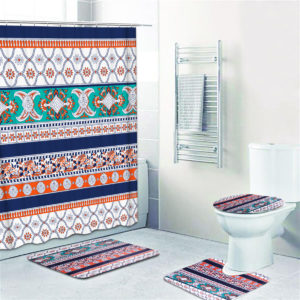 1/3/4PCS Shower Curtain Non-Slip Rug Set Pedestal Rug Toilet Cover Mat Bathroom Waterproof Bath Curtain