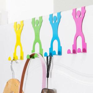 Honana HH-02 Creative Doll Door Back Hook Hangers Iron Seamless Hook Door Multifunction Peg Racks