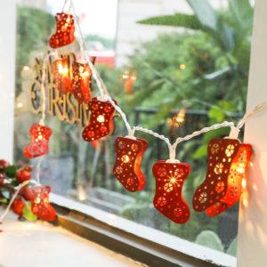 Christmas Red Socks String Light Battery Powered LED Fairy Holiday Light Easter New Year Home Decor Lamp