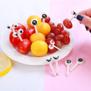 10pcs Mini Cartoon Ant Eye Fruit Fork set for Party Cake Dessert  Food Toothpicks Tableware Bento Box Decor