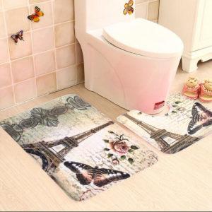 2Pcs/Set Paris Eiffel Tower Non-Slip Bathroom Toilet Pedestal Rug And Bath Mat Bathroom Carpet
