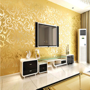 10mx53cm Wallpaper Rolls Silver Golden Apricot Luxury Embossed Patten Textured Home Wall Decor