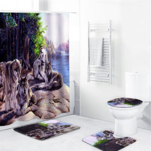 1/3/4 Pcs Lake Wolf Waterproof Shower Curtain Bathroom Toilet Cover Mat Set Non-Slip Pedestal Rug Kit