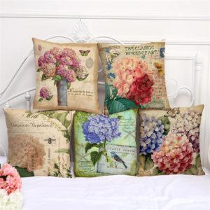 45x45cm blommor stil tecknad dekorativ soffakudde modern blommig tryckt kuddeöverdrag
