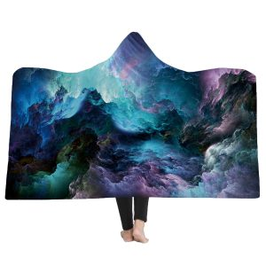 150x200CM 3D Colorful Printed Hooded Blankets Warm Wearable Plush Mats Thick Nap