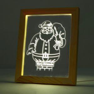 KCASA FL-713 3D Photo Frame Illuminative LED Night Light Wooden Santa Claus Desktop Decorative USB Lamp For Bedroom Art Decor Christmas Gifts