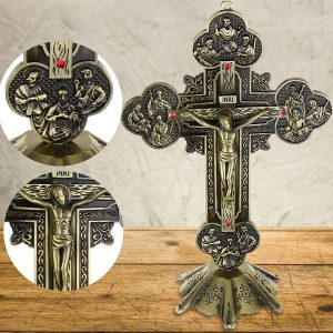 "10"" Antique Jesus INRI Catholic Altar Standing Religious Crucifix Cross Decorations with Base"