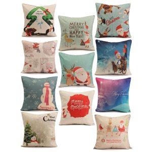45X45cm Julmode Bomullslinn Kuddesak Santa Claus Snowmen Gift Home Decor