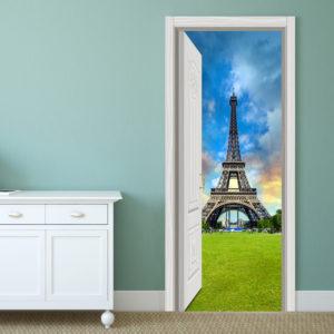 88X200CM PAG Imitative Door 3D Wall Sticker Ocean Desert Eiffel Tower Ajar Door Home Wall Decor Gift