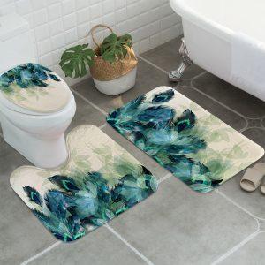 3PC Anti-Slip Bathroom Peacock Feather Bath Mat Toilet Lid Cover Bathroom Floor Carpet