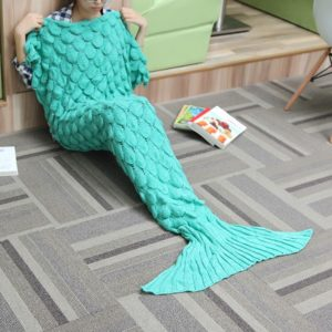 180x90 Garn Stickning Sjöjungfru Tail Blanket Wave Stripe Warm Bed Mat Super Super Sleep Sleep Bag