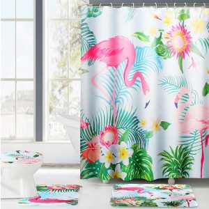 180x180cm 4pc Colorful Flamingo Shower Curtain Non-Slip Rug Lid Toilet Cover Bath Mat Mildewproof Waterproof bathroom rugs Set