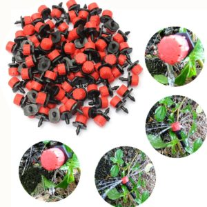 100Pcs Adjustable Micro Drip Irrigation Watering Anti-clogging Emitter Dripper Watering System Automatic Hose Kits Connector