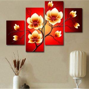 4 STK Moderna abstrakta oljemålningar Blommor Huge Wall Decor Art på duk Ingen ram
