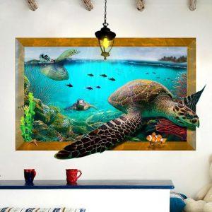 3D havssköldpadda vardagsrum sovrum djur golv hem bakgrund väggdekor kreativa klistermärken