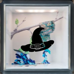 Halloween häxahatt klistermärke PVC-borttagbar väggfönster Klistermärke Terror Halloween dekorationer