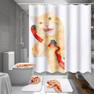 150 / 180X180 CM Cat Badrum Vattentät duschgardin med 12 vita C-formade plastkrokar
