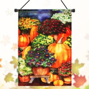 28''x40'' Pumpkin & Mums Fall Garden Flag Seasonal Yard Banner Autumn Decorations