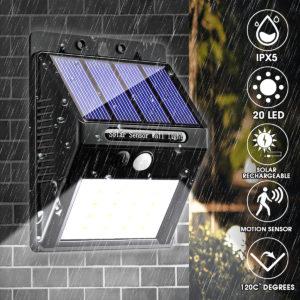 20 LED 400Lumen utomhus- solväggslampa Trådlösa rörelsessensor Vattentäta Ljus säkerhetsnattlampa för gårdsväg