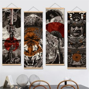 20x60cm HD Ukiyoe Canvas målningar Wall Art Poster Hanging Picture Home Decor