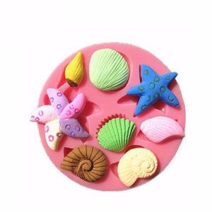 3D Silicone Sea Shells Starfish Sea Snail Fondant Cake Chocolate Mold Mould Cake Decoration