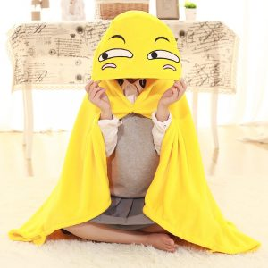 110x145cm Plush Toy Funny Expression Cloak Cape Shawl Coral Fleece Air Conditioning Blanket