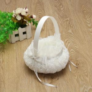 White Romantic Storage Rose Flower Baskets Bowknot Satin Wedding Ceremony Party Girl