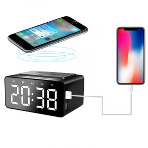 AEC BT508 Wireless Bluetooth Speaker Wireless Charger, USB Charging for Phone Portable Double Alarm Clock FM Radio Subwoofer, Three-range Brightness Adjustment