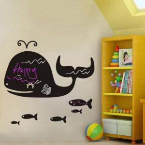 Cartoon Whale Blackboard Stickers DIY Flyttbara väggklistermärken Barnrum Nursery Home Decor