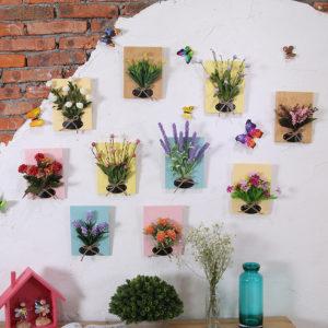 DIY konstgjorda blommor för dekoration Träskiva Vägghängande konstgjorda blommor Plast- sidenblommor för bröllopsdekoration