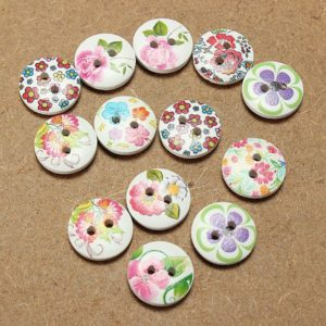 100Pcs Printed Wooden Craft Buttons 15MM 2 Holes
