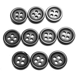 10 st 4 hål svart runda harts knappar sy hantverk knapp 7 storlekar