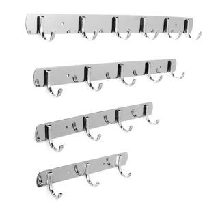 3/4/5/6 Hooks Wall Door Stainless Steel Kitchen Clothes Hook Hanger