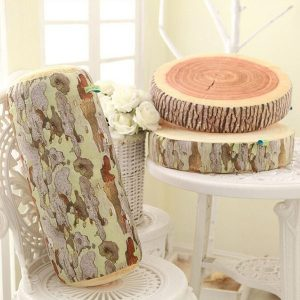 3D Novelty Stump Log Wood Throw Pillow Sycamore Tree Cushion Home Office Car Soft Decor