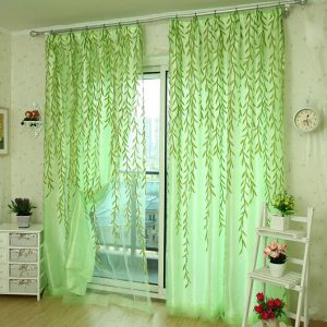 100x200cm Green Leaves Voile Window Screening Balcony Bedroom Window Curtain