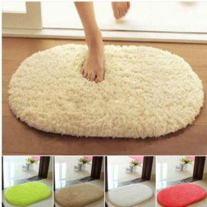 40x60cm Lint Plush Non Slip Absorbent Bathroom Floor Mat Oval Kitchen Carpet Rug